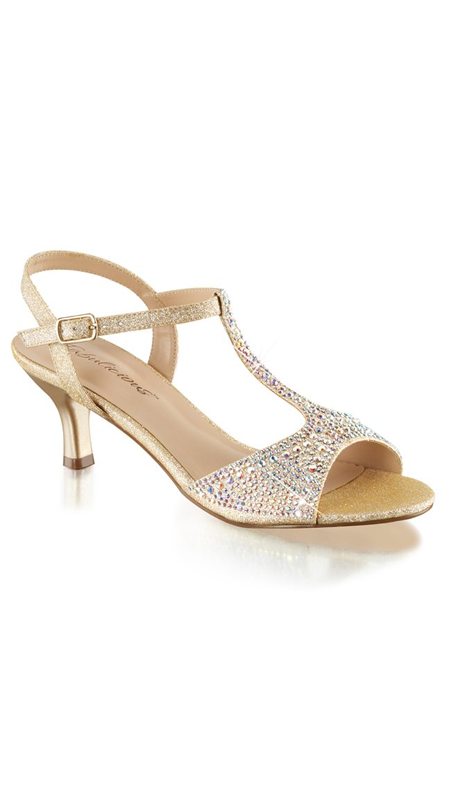 """2 1/2"""" Glitter and Rhinestone Kitten Heels with T-Strap by Pleaser"""