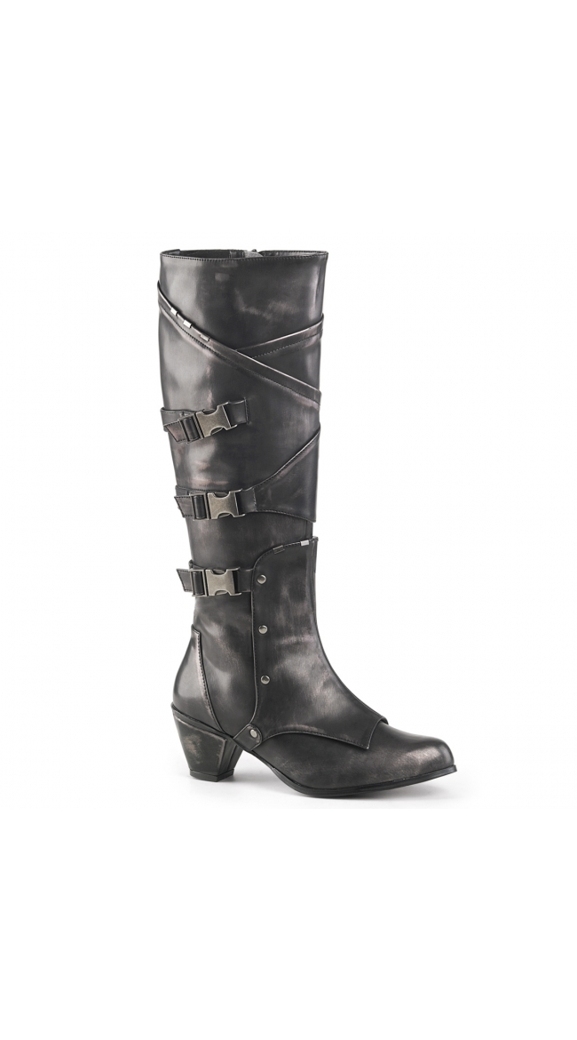 2 1/2 Inch Knee High Buckle Boot by Pleaser