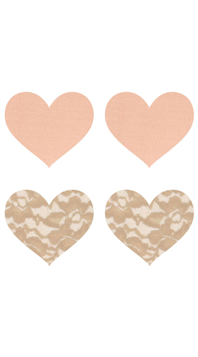 2-Pack Nude Ambition Heart Pasties by XGEN Products - sexy lingerie
