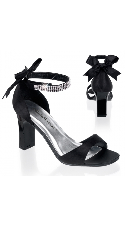 3 1/4 Inch Black Satin Sandal by Pleaser