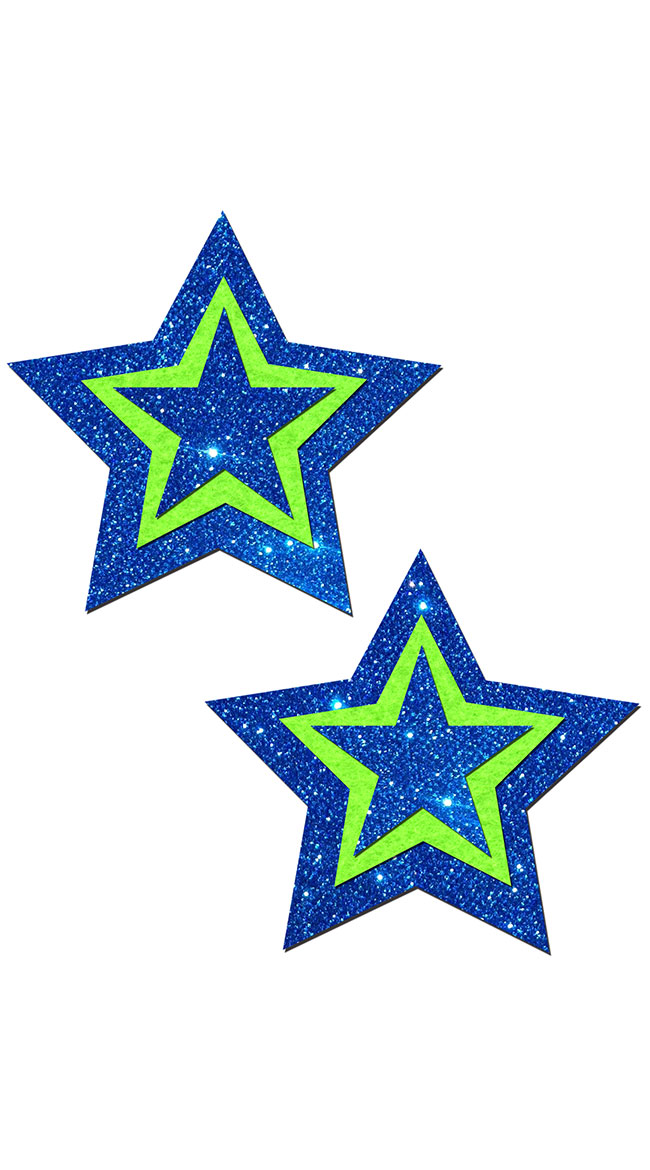 3D Blue and Green Glitter Star Pasties by Pastease / Blue And Green Star Pasties