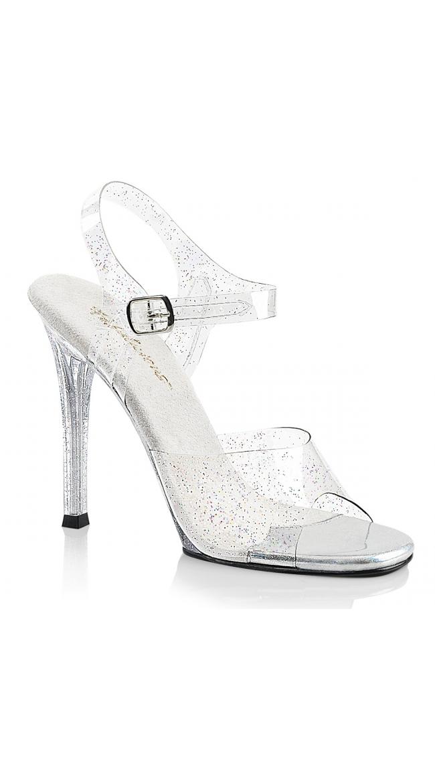 4 1/2 Inch Clear Glitter Sandal by Pleaser