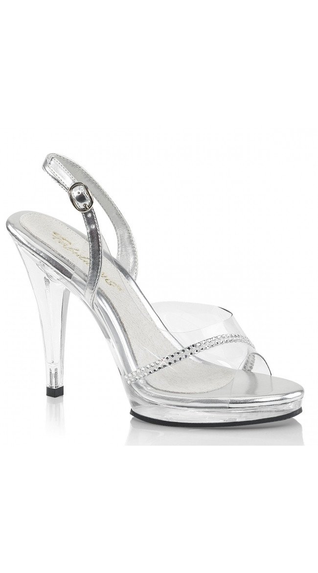 4 1/2 Inch Clear Slingback Sandal by Pleaser