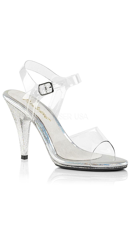 "4"" Clear Glittering Sandal by Pleaser"