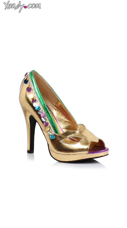 "4"" Mardi Gras Peep Toe Pump by Ellie Shoes"