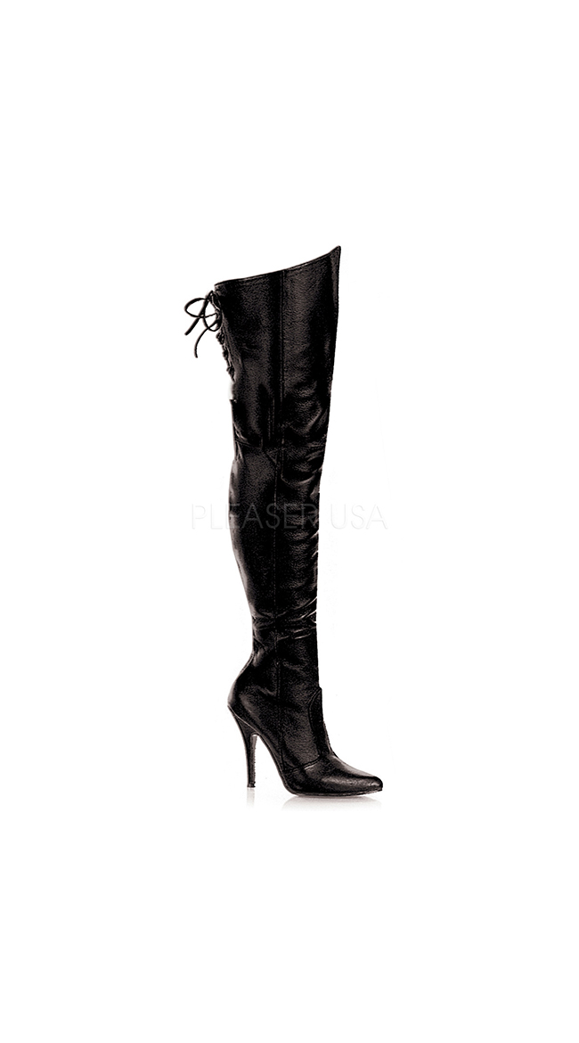 5 Inch Lace Up Thigh High Leather Boot by Pleaser