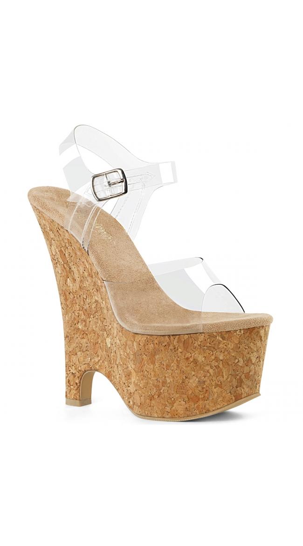 6 1/2 Inch Clear Strap Platform Sandal by Pleaser