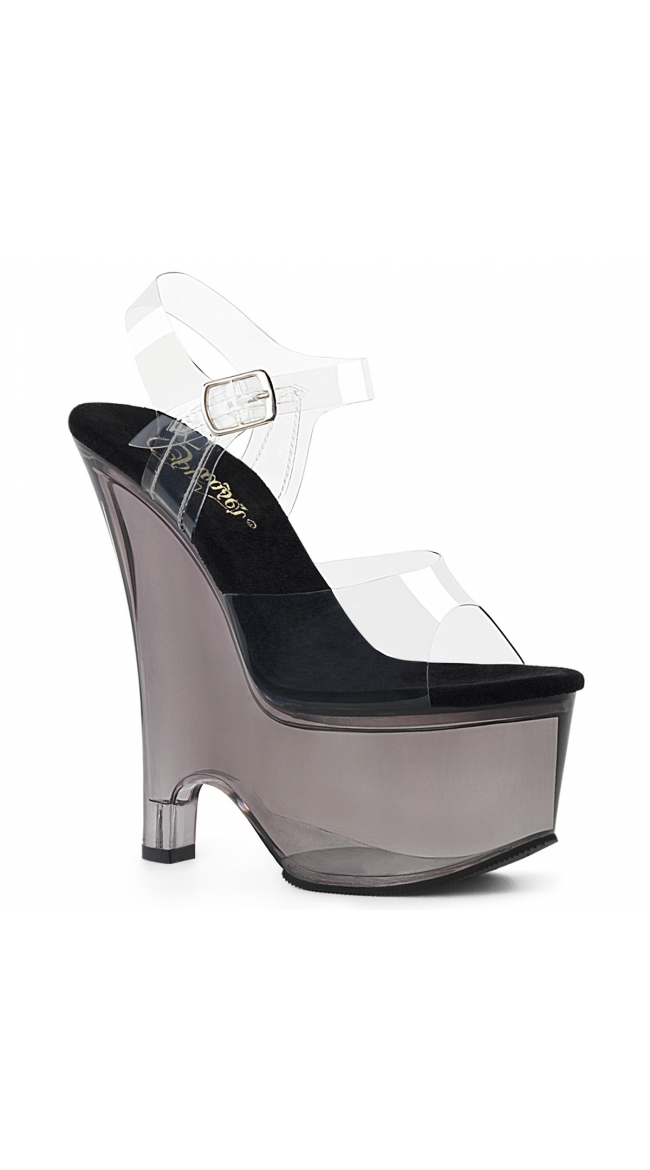 6 1/2 Inch Clear Tinted Platform Sandal by Pleaser