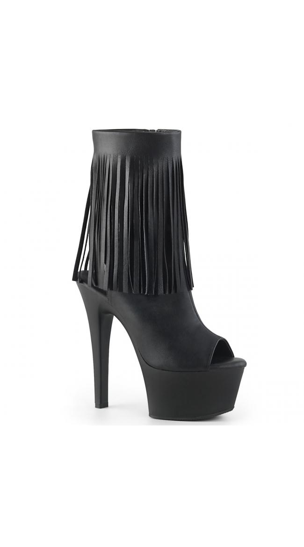 6 Inch Fringe Platform Ankle Boot by Pleaser