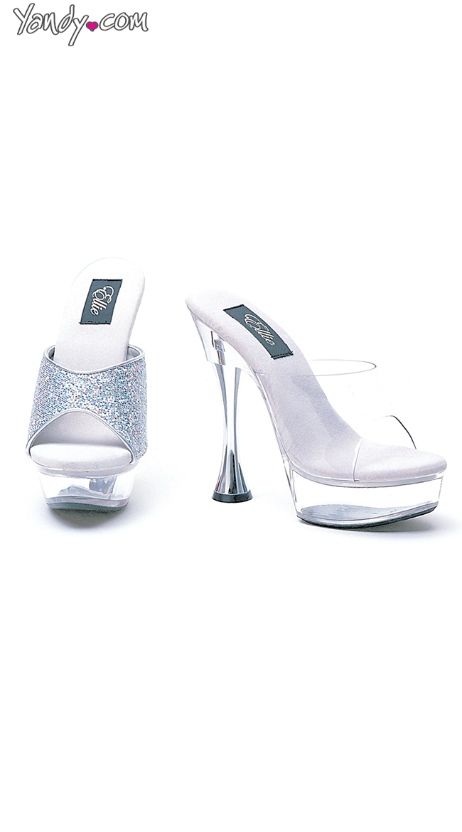 """6"""" Silver Cone Heel Clear Mule by Ellie Shoes"""
