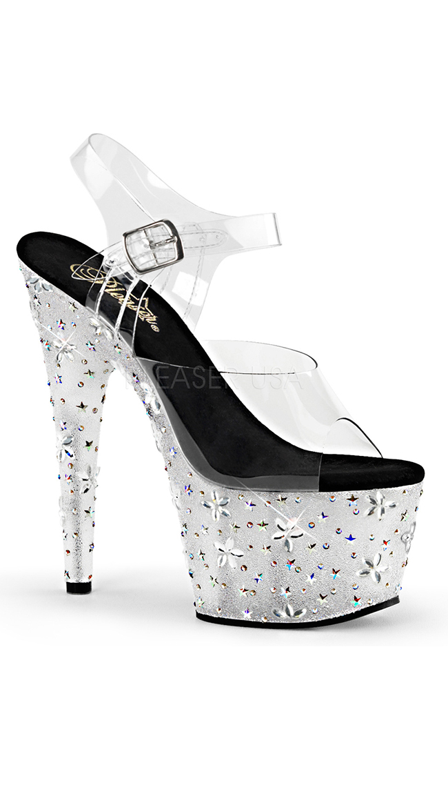 """7"""" Clear Stars and Flowers Sandal by Pleaser"""