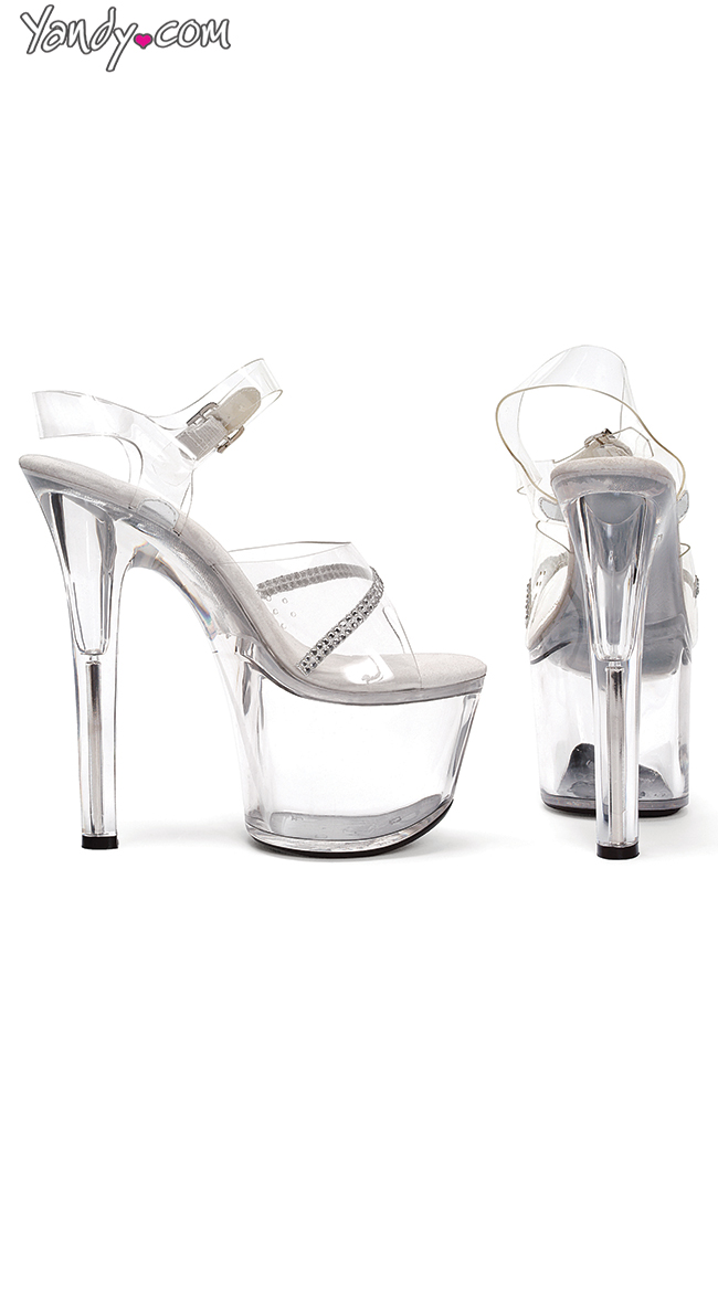 """7"""" Heel Clear Sandal With Ankle Strap and Rhinestones by Ellie Shoes"""