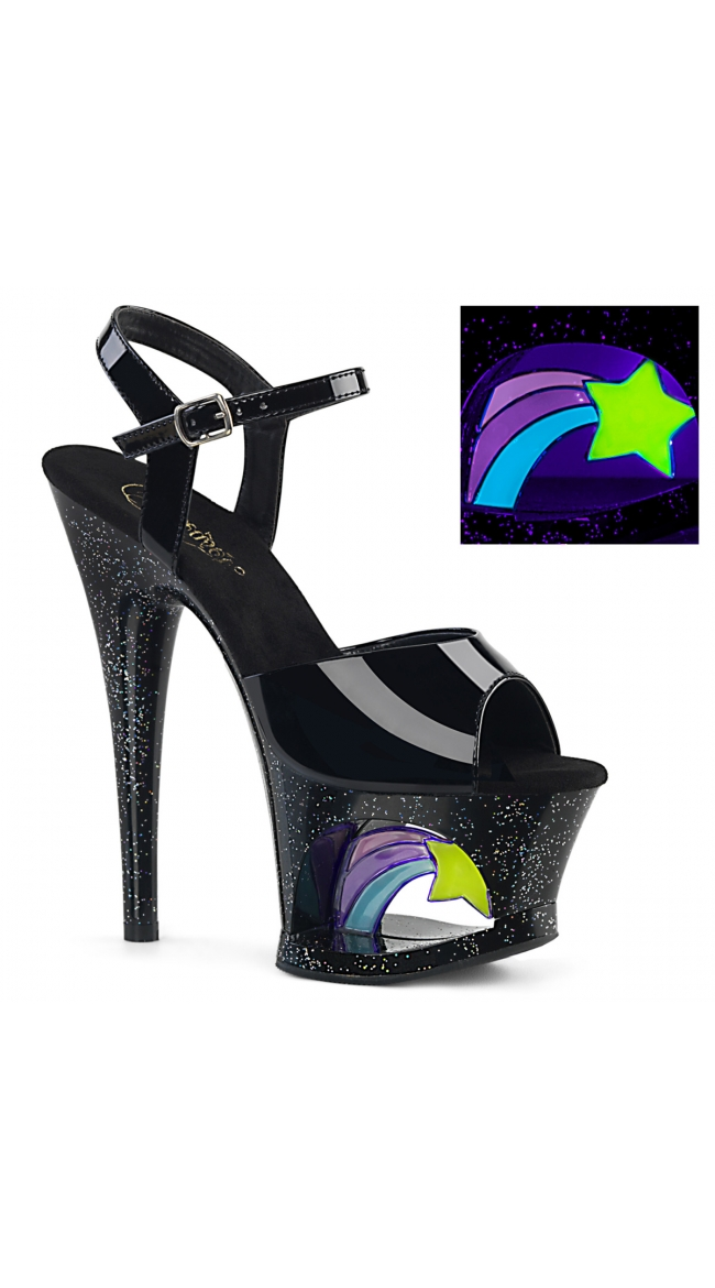 7 Inch Black Patent Shooting Star Sandal by Pleaser