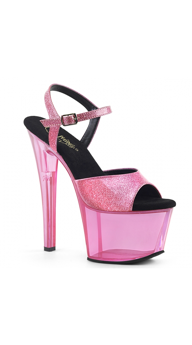 7 Inch Clear Tinted Glitter Sandal by Pleaser