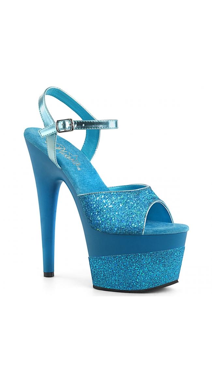 7 Inch Metallic Glitter Platform Sandal by Pleaser