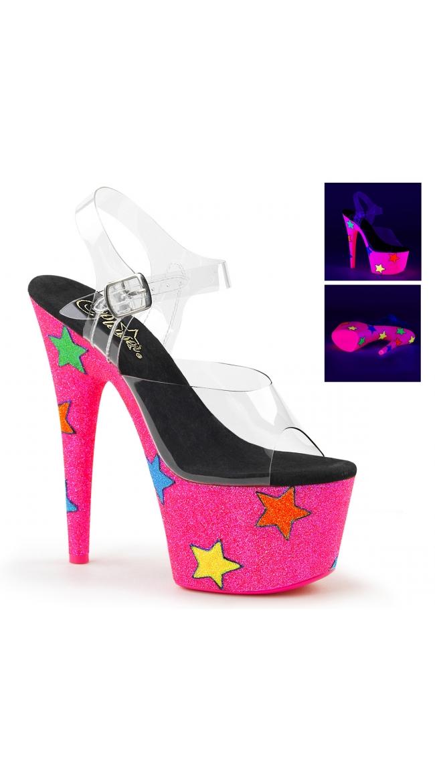 7 Inch Neon Pink Glitter Platform Sandal by Pleaser