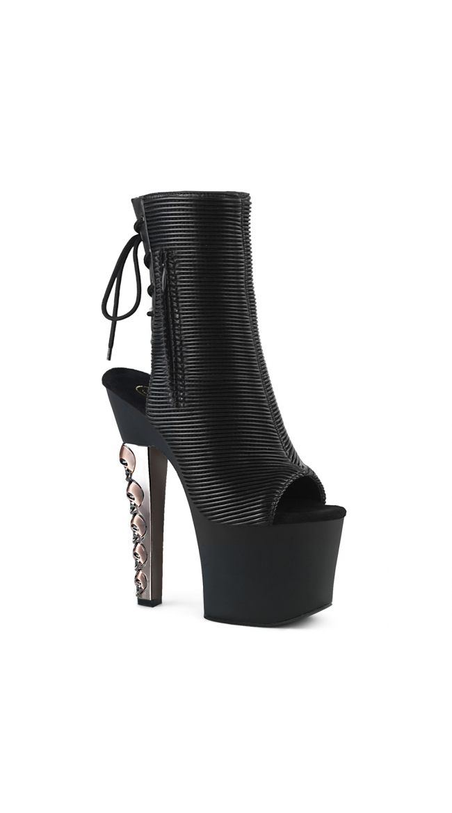 7 Inch Skull Heel Ankle Boot by Pleaser