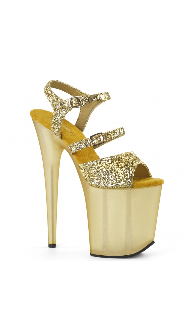 8 Inch Strappy Glitter Sandal by Pleaser