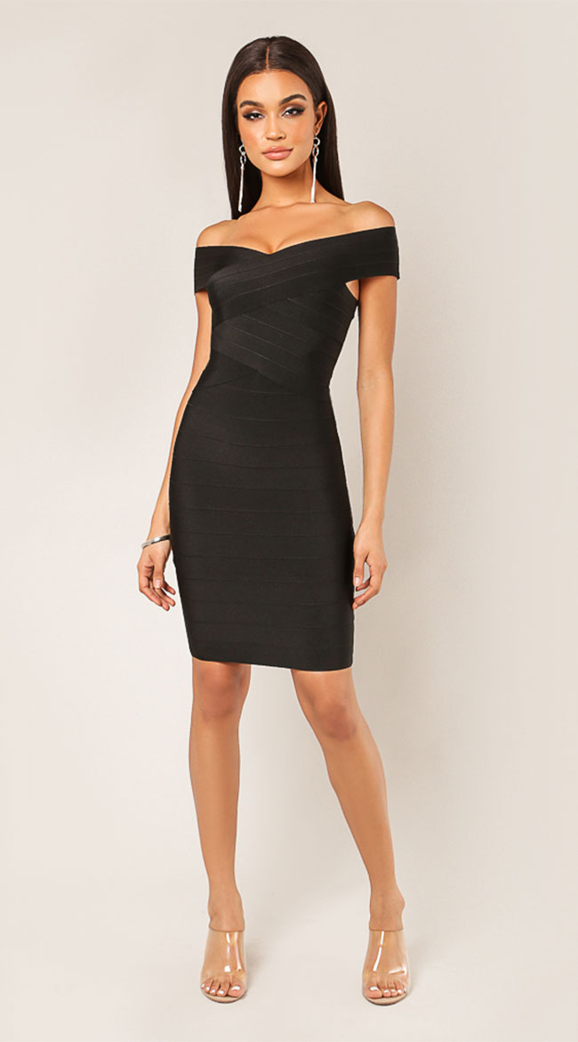 After Party Off Shoulder Bandage Dress by WOW KNIT