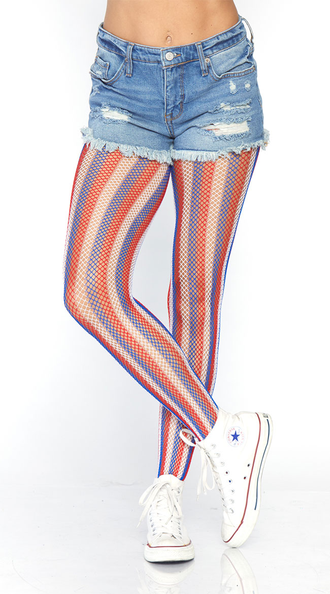 Americana Striped Fishnet Tights by Leg Avenue - sexy lingerie