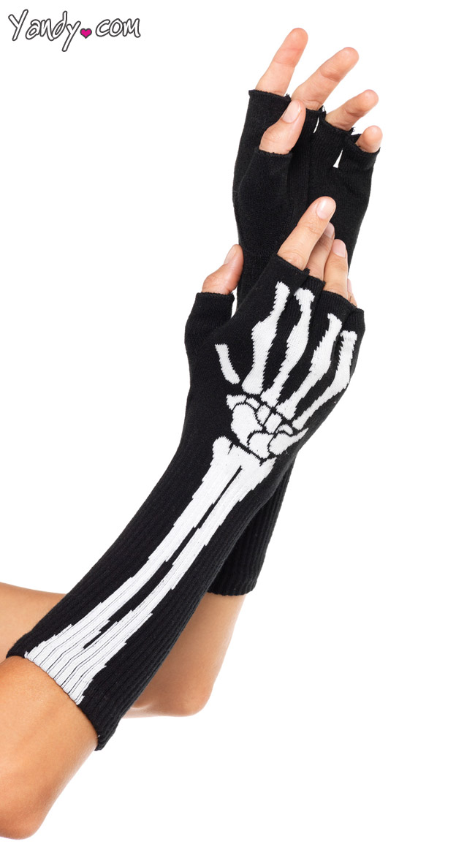 Arm Skeleton Fingerless Glove Set by Leg Avenue