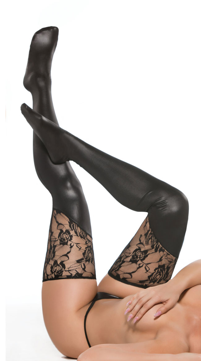 Asymmetrical Wet Look and Lace Thigh Highs by Allure Lingerie