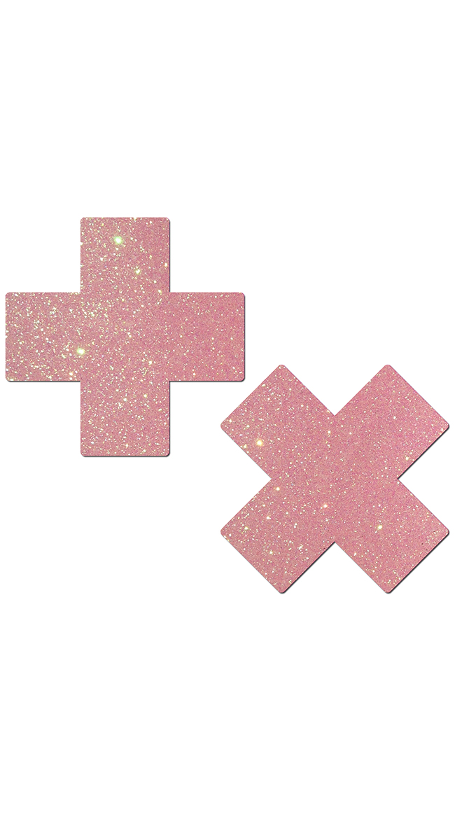 Baby Pink Glittery Cross Pasties by Pastease / Glitter Nipple Pasties