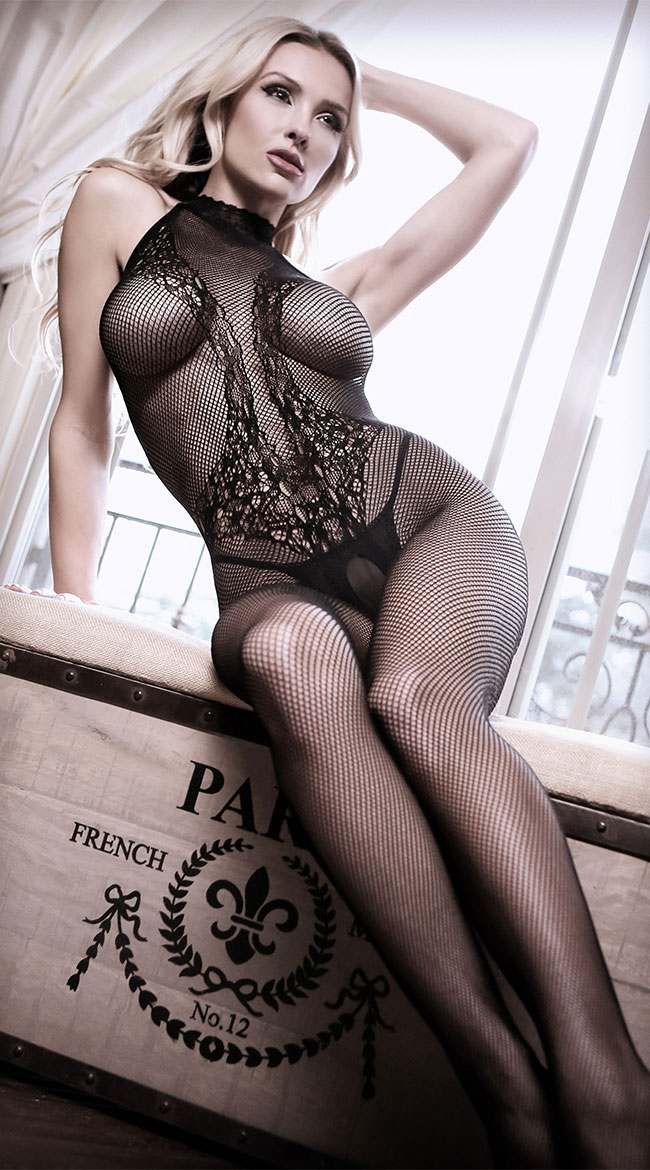Back To Black Lace Net Bodystocking by Fantasy - sexy lingerie