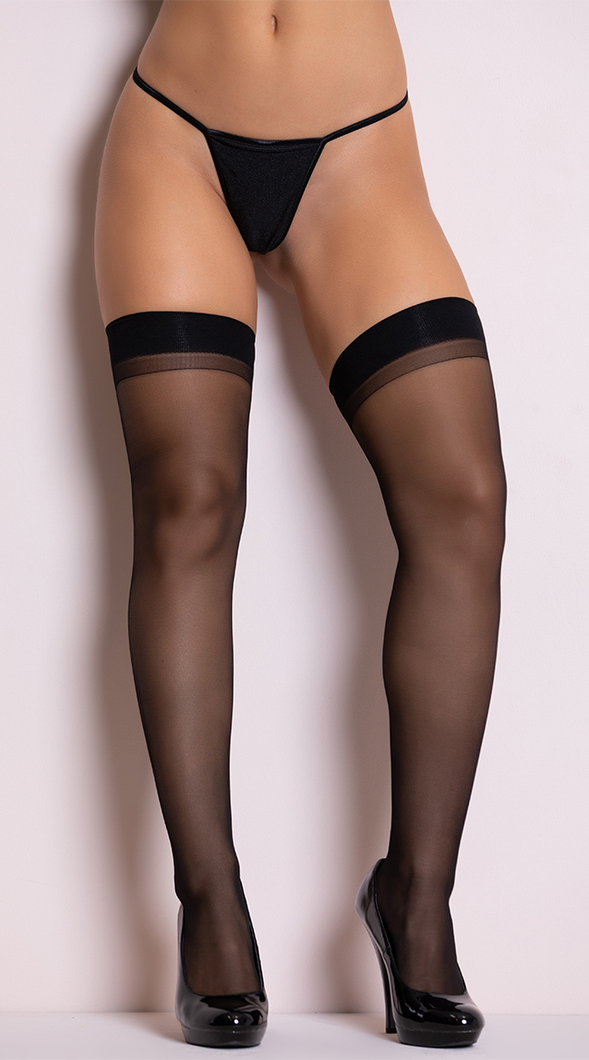 Basic Sheer Black Thigh Highs by iCollection - sexy lingerie