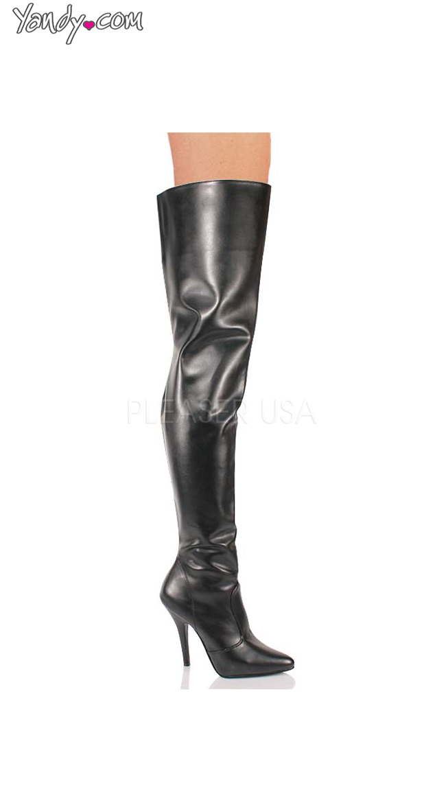 """Black 5"""" Heel Thigh High Boot by Pleaser"""