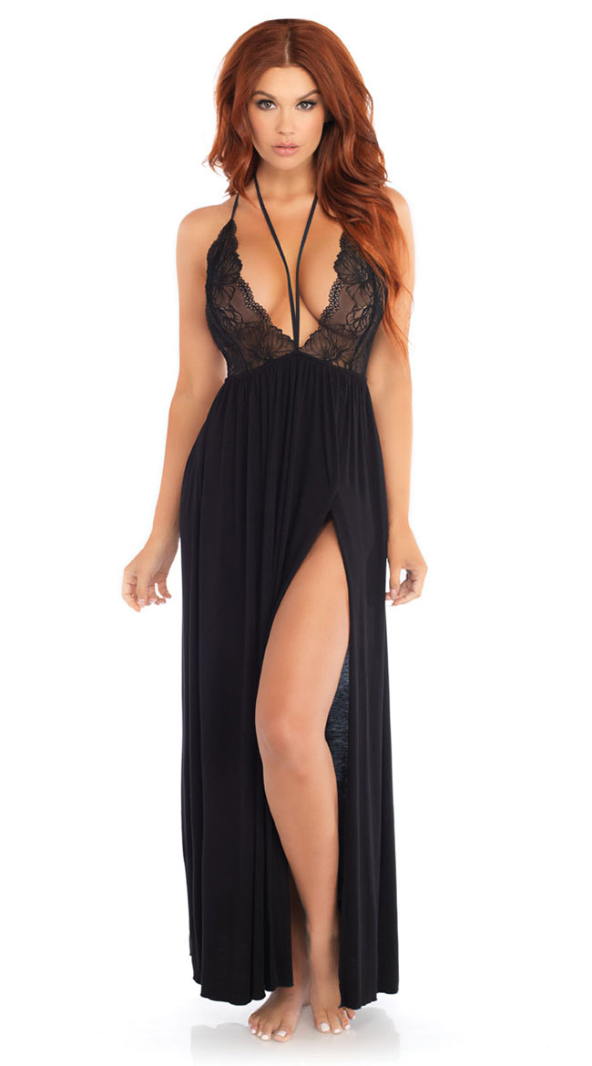 Black Brushed Jersey and Lace Gown by Leg Avenue