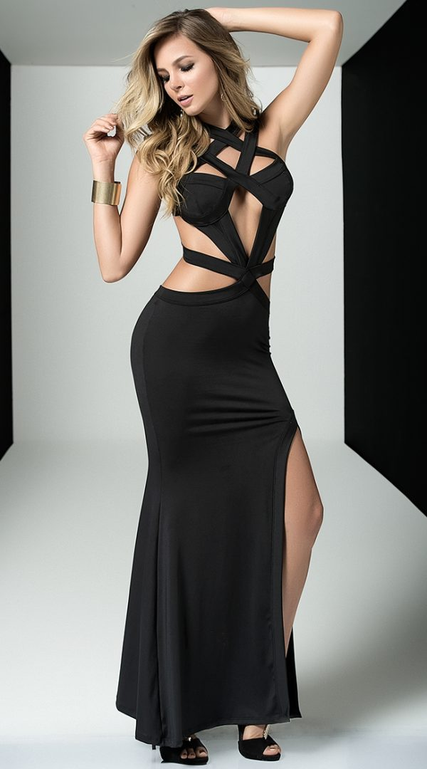 Black Cage Gown by Mapale
