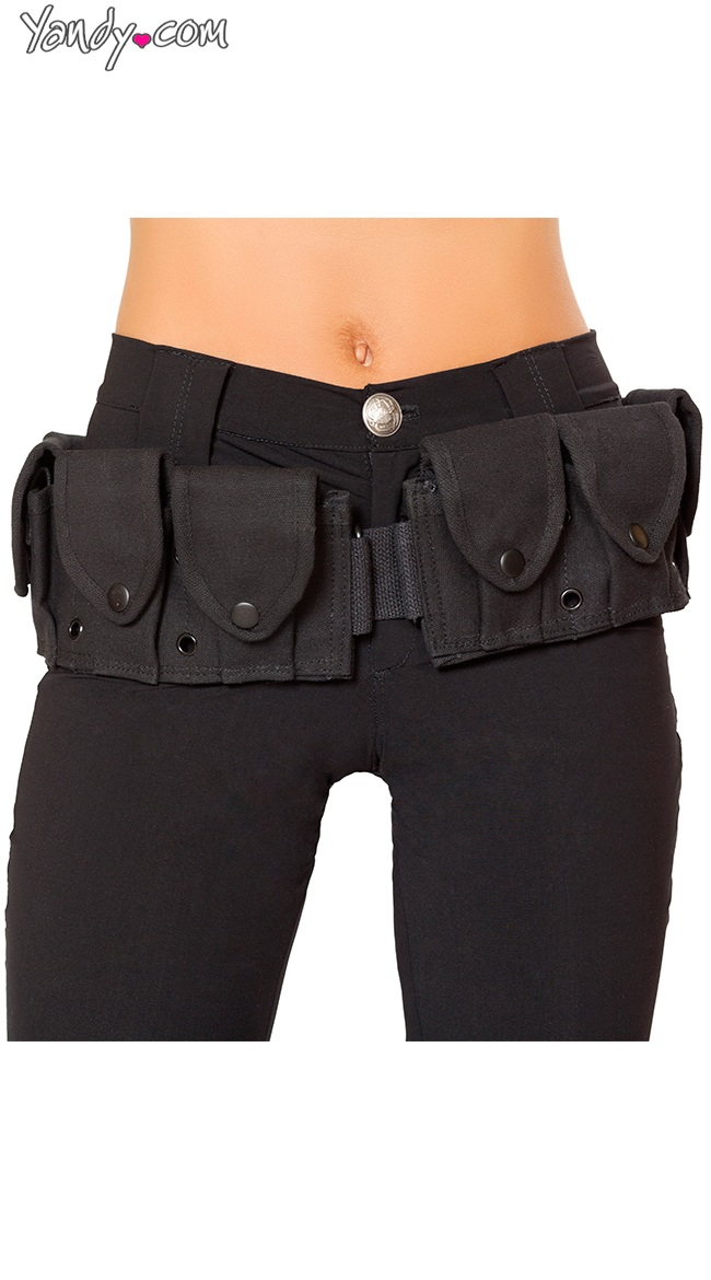Black Costume Belt With Pouches by Roma / Costume Belt Accessory