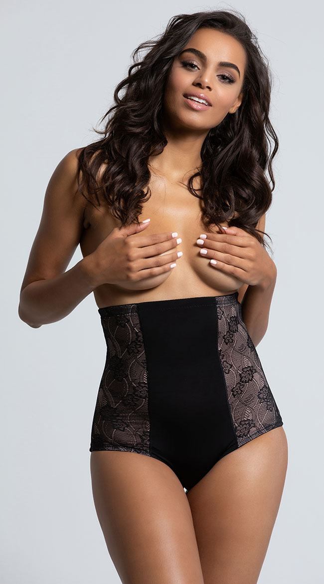 Black Fit with Lace High Waisted Brief by Rene Rofe