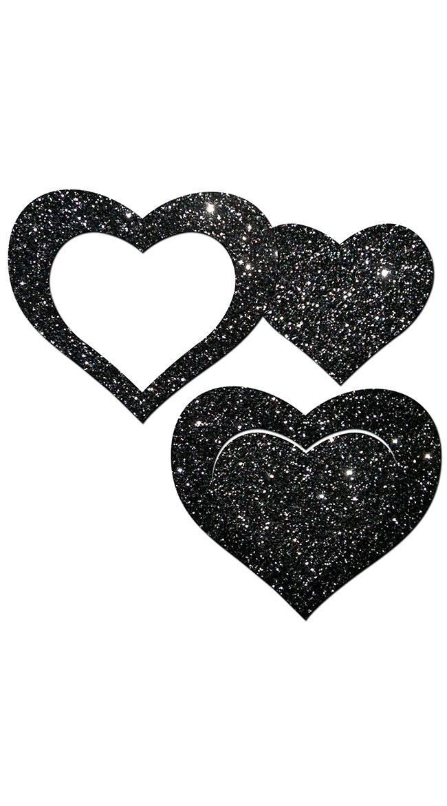 Black Glitter Cut-Out Heart Pasties by Pastease / Black Heart Pasties
