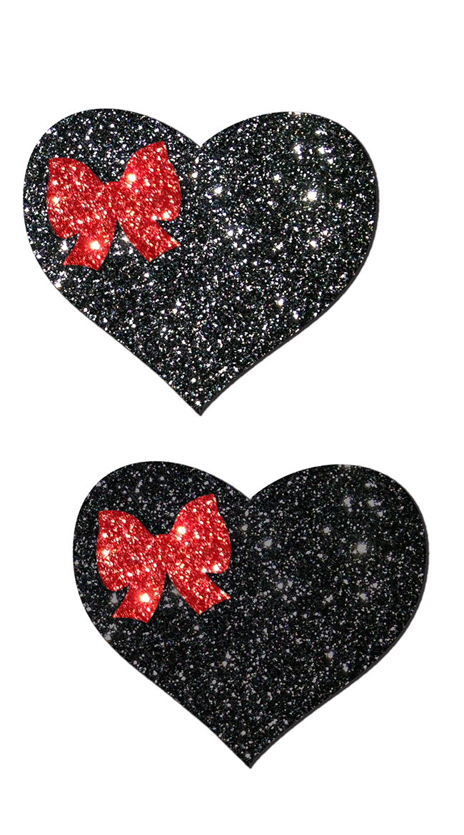 Black Glitter Heart and Red Bow Pastease