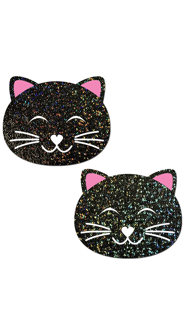Black Glitter Kitty Pasties by Pastease