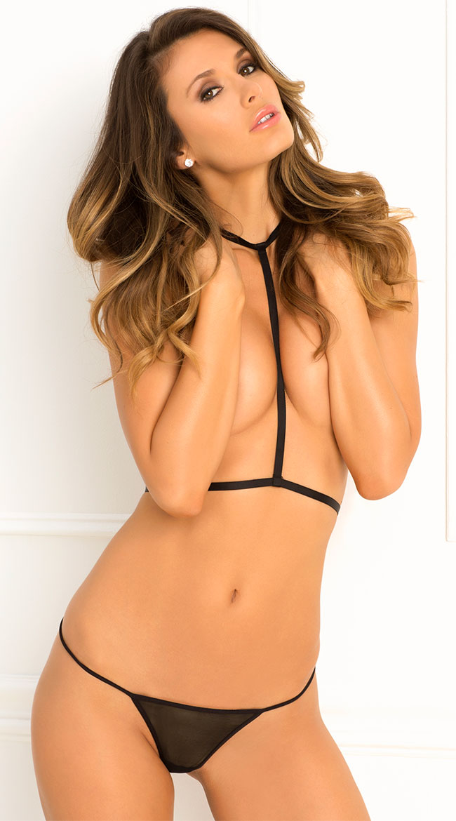 Black Harness and Panty Set by Rene Rofe / Thin Harness And Panty Set