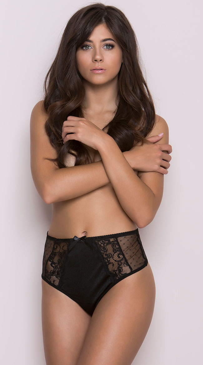 Black High Waisted Mesh and Lace Panty by iCollection