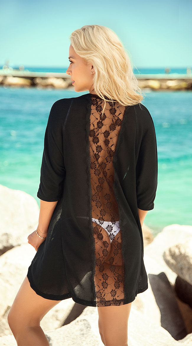 Black Lace Kimono Cover-Up by Mapale