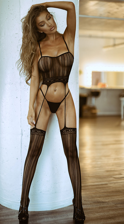 Black Magic Mesh Gartered Bodystocking by Fantasy - sexy lingerie