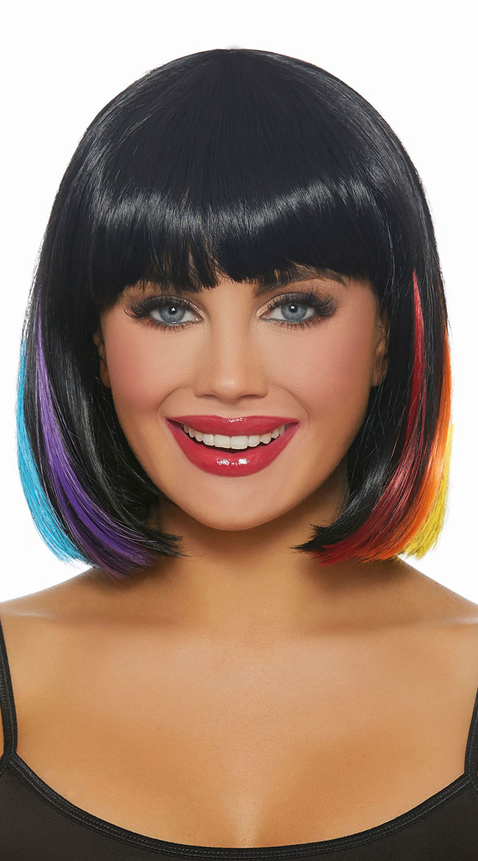 Black Rainbow Bob Wig by Dreamgirl