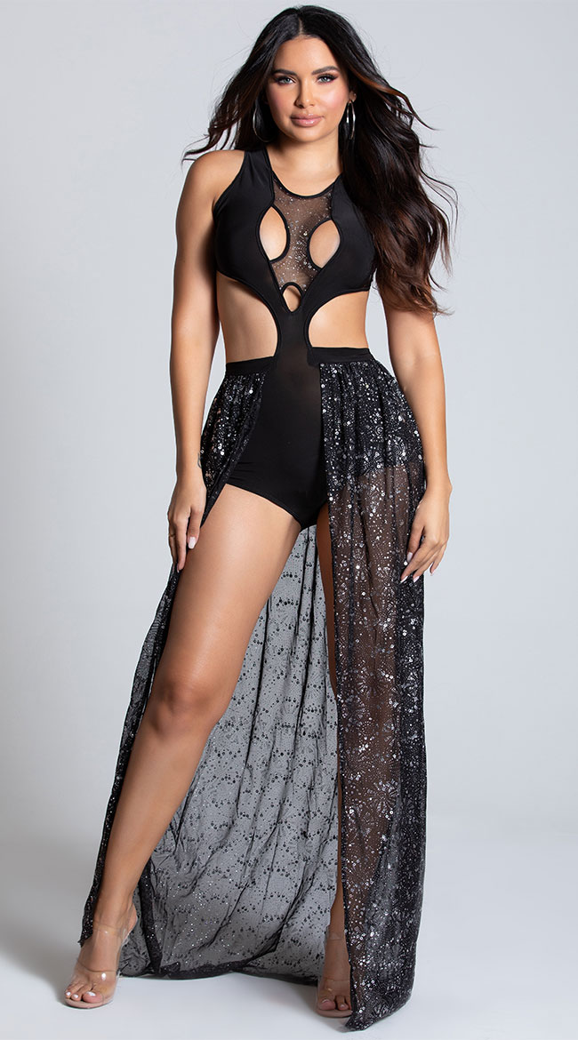 Black Romper with Sequin Skirt by Roma