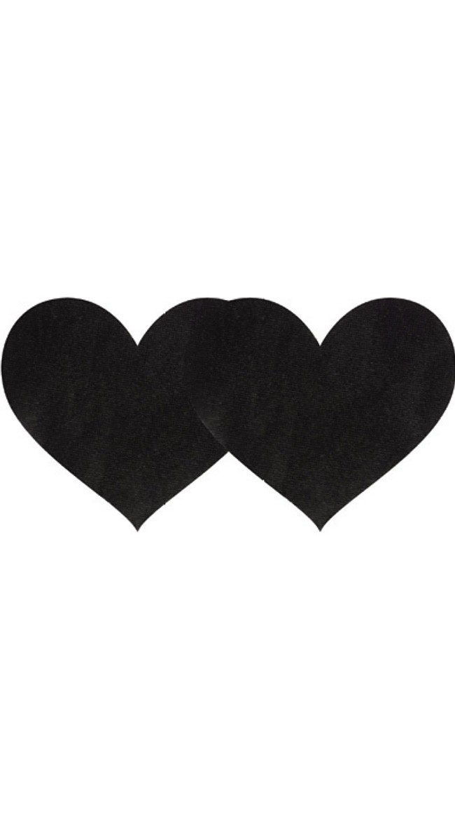 Black Satin Heart Pasties by XGEN Products / Black Shimmery Pasties