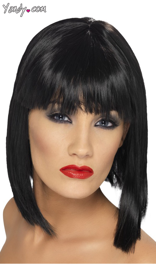 Black Short Blunt Cut Wig With Fringe by Fever - sexy lingerie