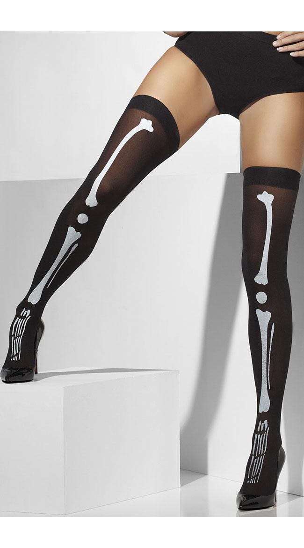 Black Skeleton Print Thigh High Stockings by Fever / Bone Print Tights