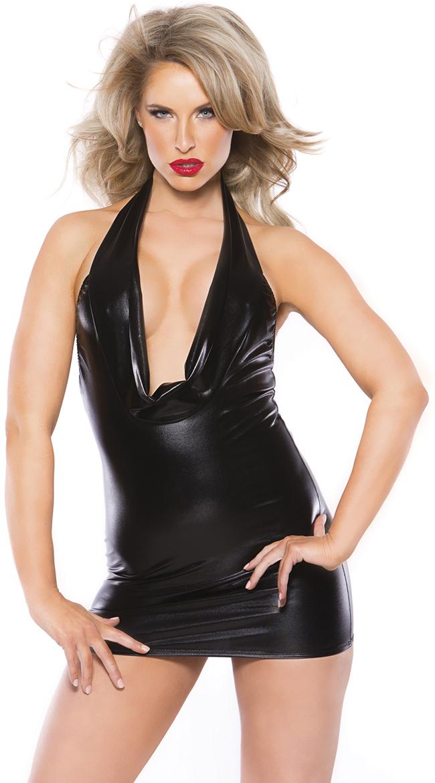 Black Wet Look Cowl Neck Mini Dress by Allure Lingerie / Black Wet Look Dress