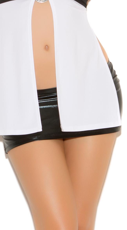 Black Wet Look Mini Skirt by Elegant Moments