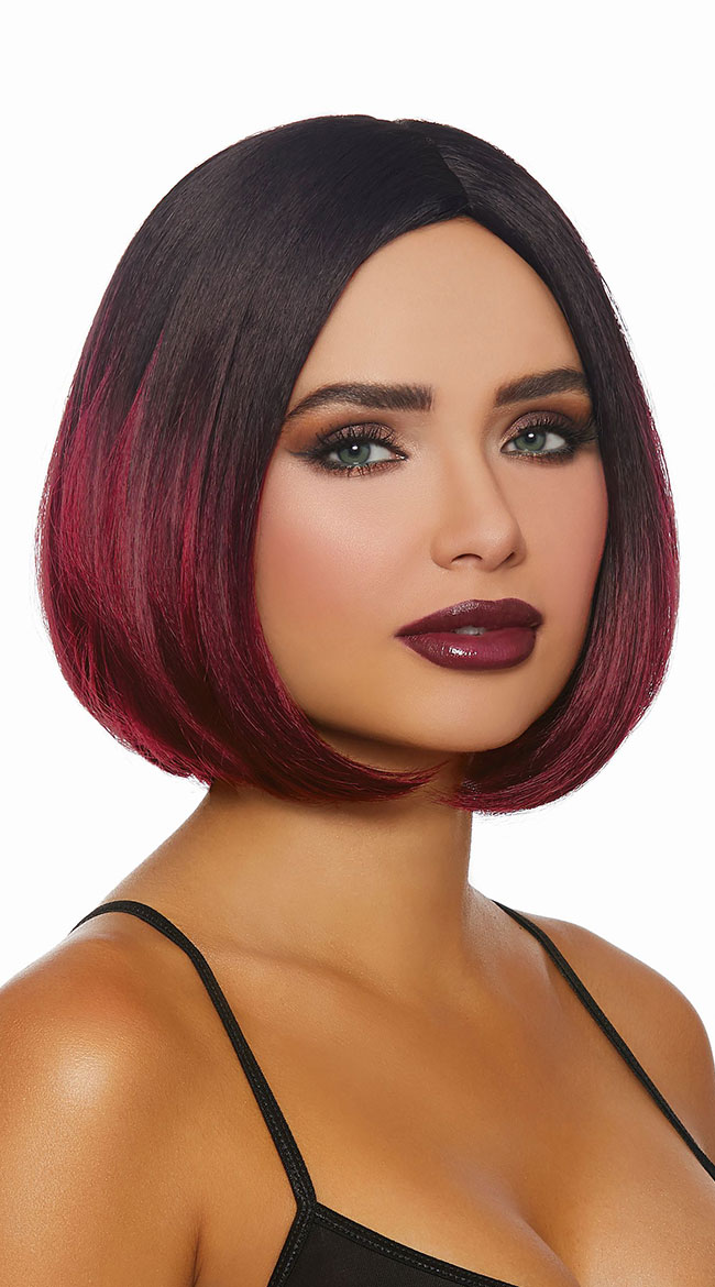 Black and Burgundy Ombre Bob Wig by Dreamgirl