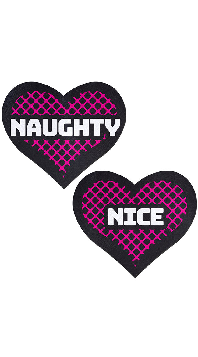 Black and Pink Naughty or Nice Heart Pasties by Pastease